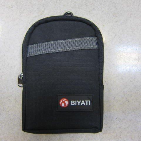 ~雪黛屋~BIYATI 腰掛包 腰包 隨身物品專用包5.5寸手機專用包防水尼龍布材質二層拉鍊主袋口 #1272黑-灰