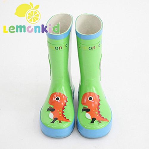 Lemonkid◆可愛動物款兔子大象貓頭鷹恐龍卡通造型雨鞋-綠色恐龍