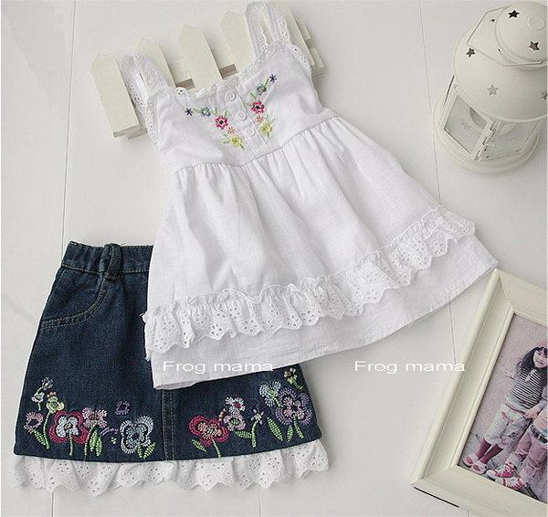 歐單繡花吊帶布蕾絲上衣+牛仔裙2件套裝4T.5T.6T.6X(6折專區)