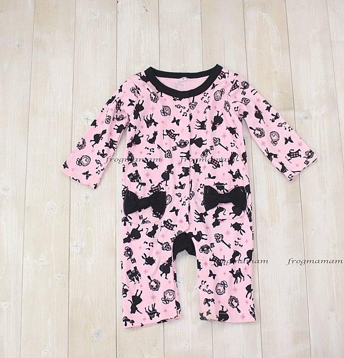 日本粉色愛麗絲長袖連身衣70~80cm
