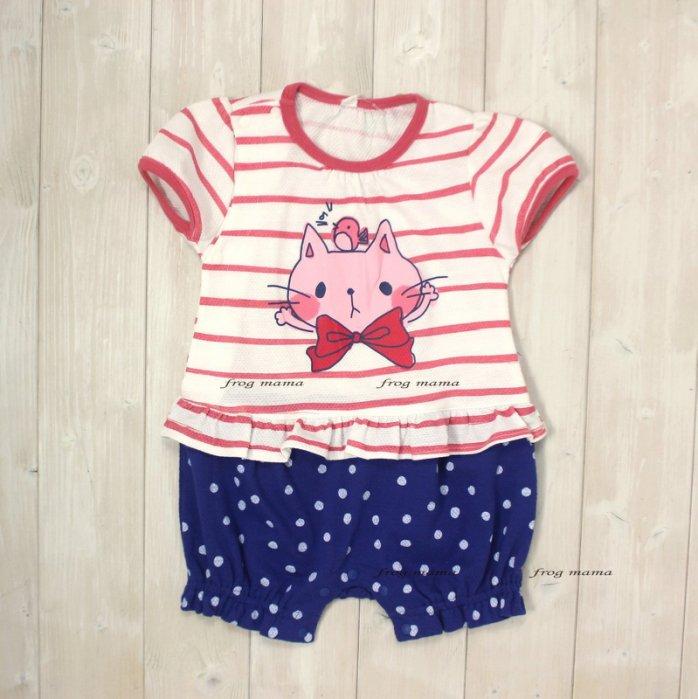 ☆青蛙媽媽☆西松屋透氣孔貓咪連身衣70.80cm