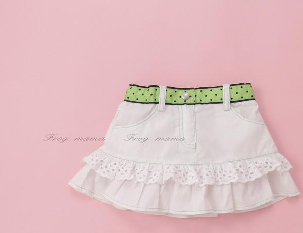 白色好搭綠色點點腰頭俏麗短裙100cm(6折專區)
