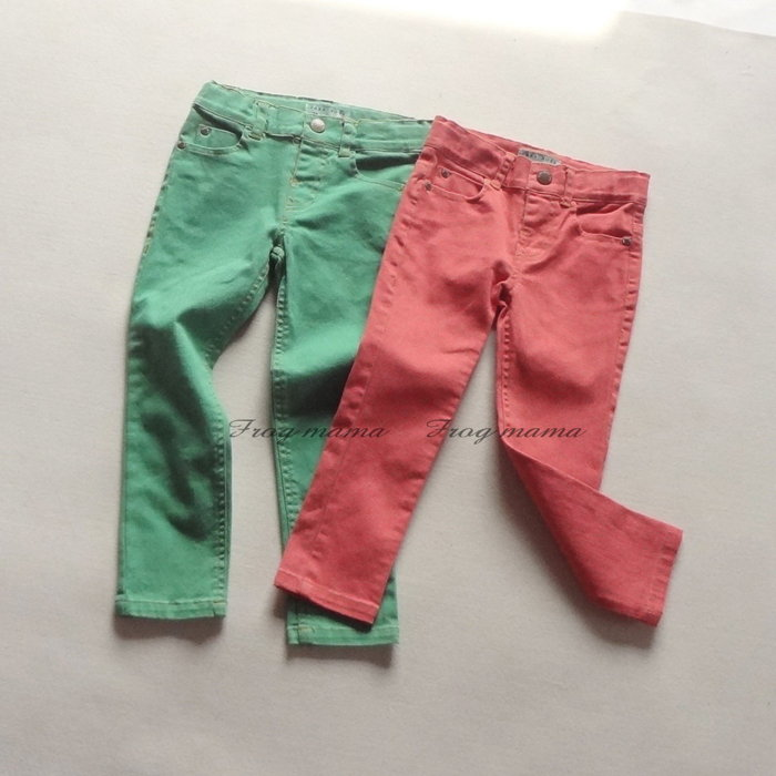 ☆青蛙媽媽☆Z牌復古色鉛筆褲、長褲(綠、紅)2/3T~7/8T