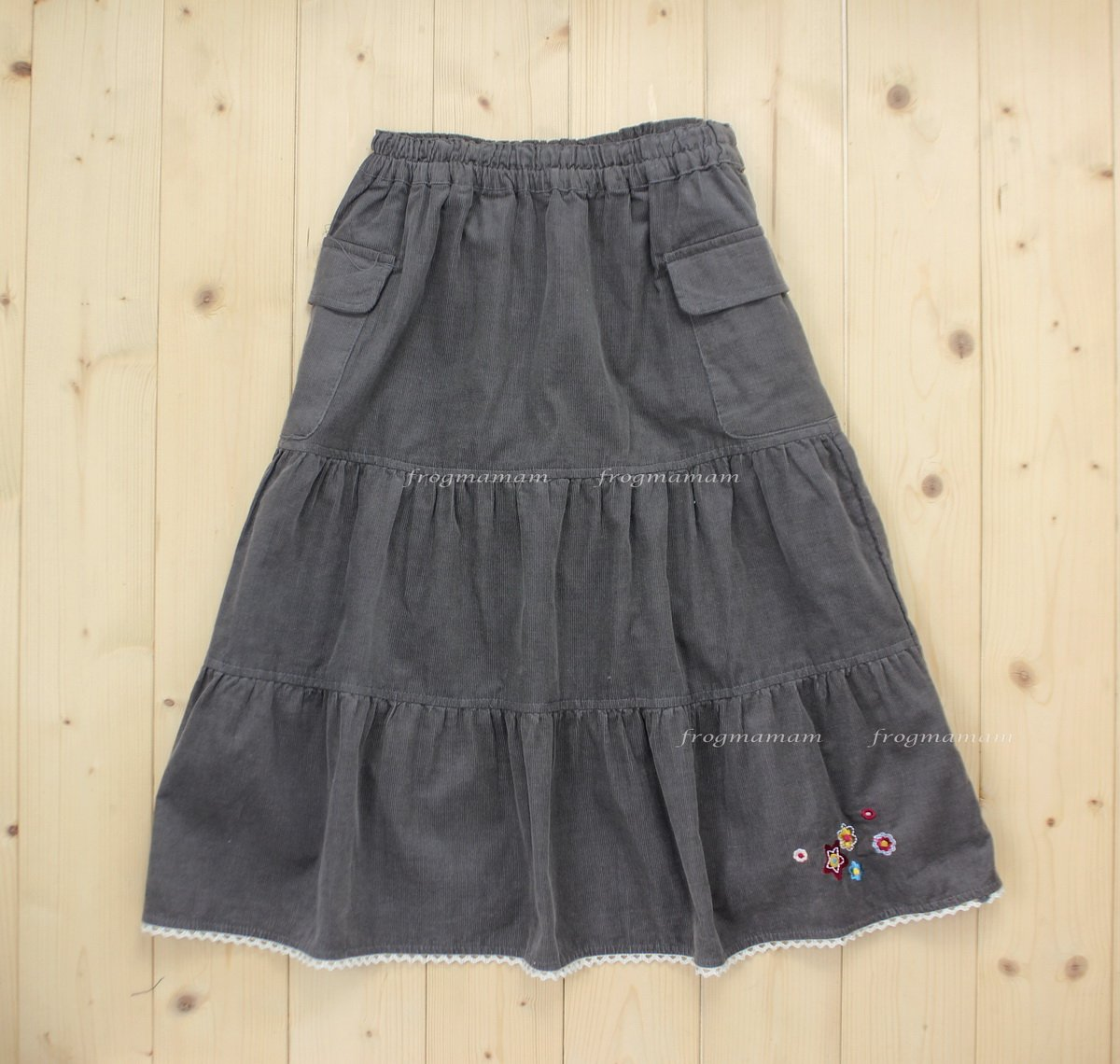 美單花朵刺繡燈籠絨裙1T~4T (七五折專區)