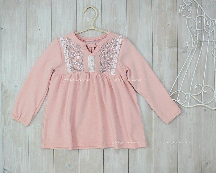 ☆青娃媽媽☆粉色刺繡花朵長袖上衣4T~8T