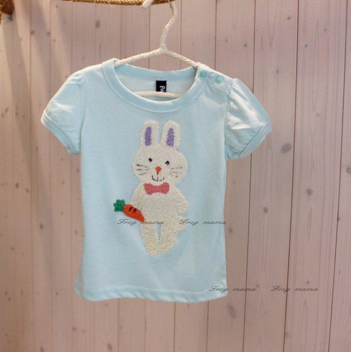 ☆青蛙媽媽☆日系兔子胡蘿蔔短袖上衣80.90