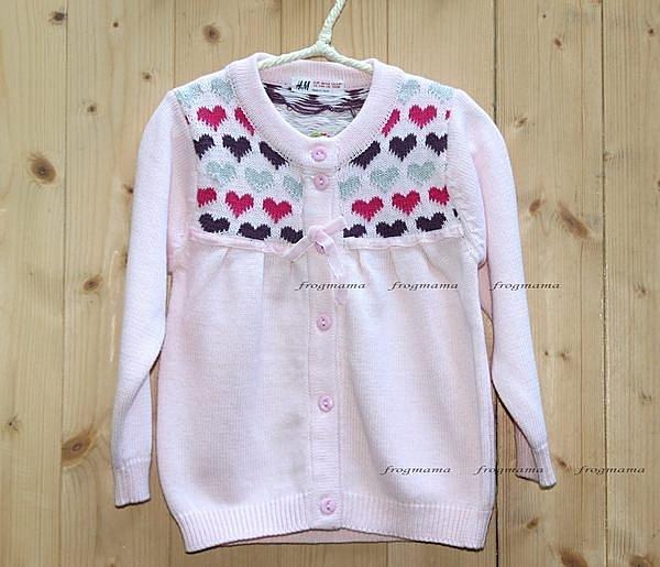 HM粉色愛心針織外套、開襟衫4/6T.6/8T