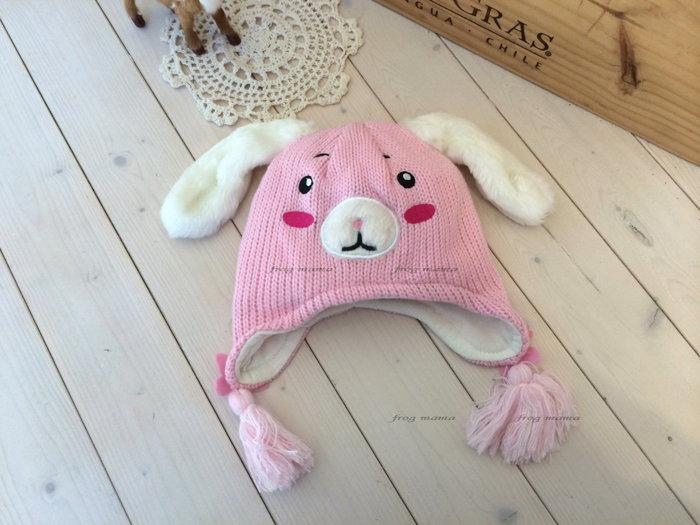 ☆青蛙媽媽☆粉色長耳兔造型針織帽1/3T~3/6T