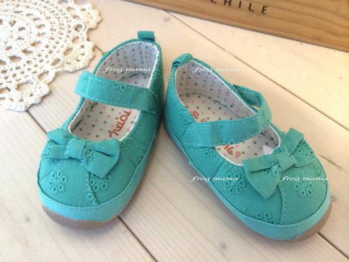 ☆青蛙媽媽☆綠色蕾絲布蝴蝶結學步鞋13#~15#