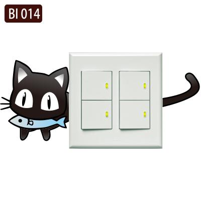 創意時尚無痕環保PVC壁貼牆貼BI014小貓偷吃魚開關貼防水不傷牆面可重覆撕貼