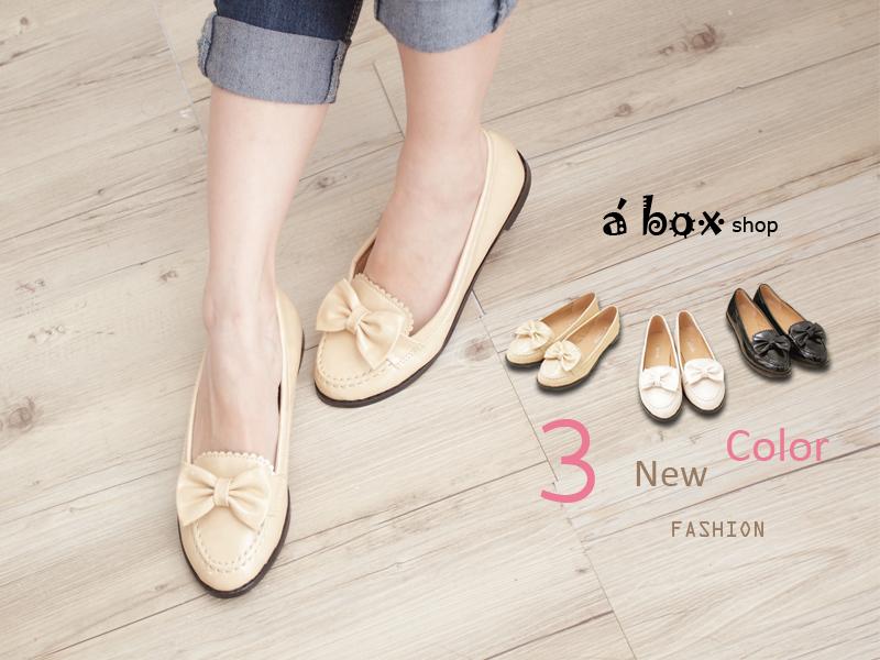 格子舖*【KA0621-11】韓風時尚 高品質皮面蝴蝶結平底 休閒鞋 包鞋 三色