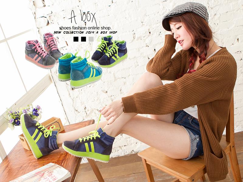 格子舖*【KA8538】運動風螢光撞色系 麂皮材質 繫帶厚底增高5CM慢跑鞋高筒球鞋 三色
