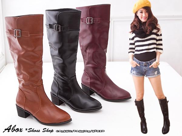 格子舖*【KHB368-3】時尚日韓潮流 假兩層金屬扣環設計 皮革低跟粗跟直筒靴中靴長靴機車靴 三色