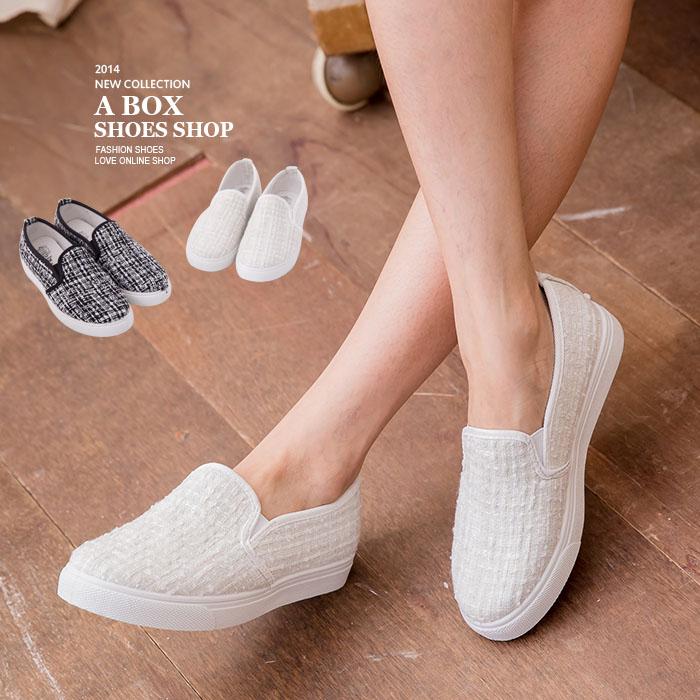 格子舖*【AI1387】MIT台灣製 超值時尚毛呢材質 尖頭平底休閒鞋 樂福懶人鞋 2色