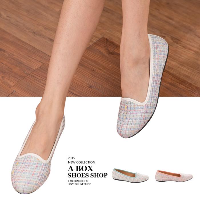 格子舖*【AI829】MIT台灣製 超值特價小香風混色毛呢 平底包鞋 娃娃鞋 3色