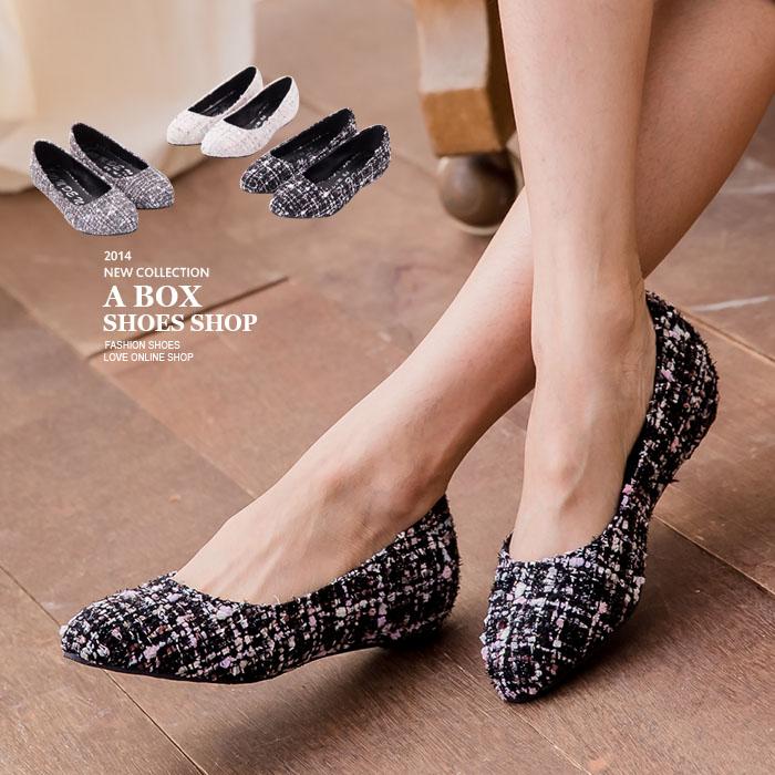 格子舖*【KIB2611】MIT台灣製 小香奈兒混色毛呢內增高2.5cm尖頭平底包鞋 懶人鞋 3色
