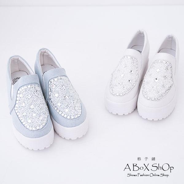 格子舖*【KP666-1】嚴選熱賣款 璀璨閃耀寶石 增高6CM厚底鬆高鞋 帆布鞋 3色