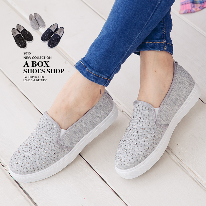 格子舖*【ASW1502】MIT台灣製 嚴選特價鑲鑽鉚釘星空感 厚底增高懶人鞋 3色