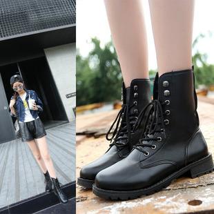帥氣綁帶中筒機車靴馬丁靴短靴女軍靴情侶靴-黑35-42【a521494104589】