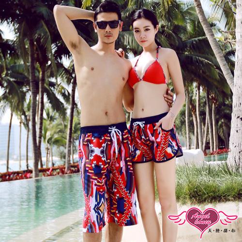 天使甜心 YK1910 抽象幾何 海灘褲 男女短褲 泳衣 比基尼 泳裝
