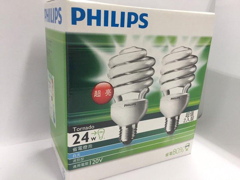 ★綠G能★PHILIPS TORNADO 24W/D 省電燈泡 T3 24W E27 120V 60Hz 6500K 2入一組