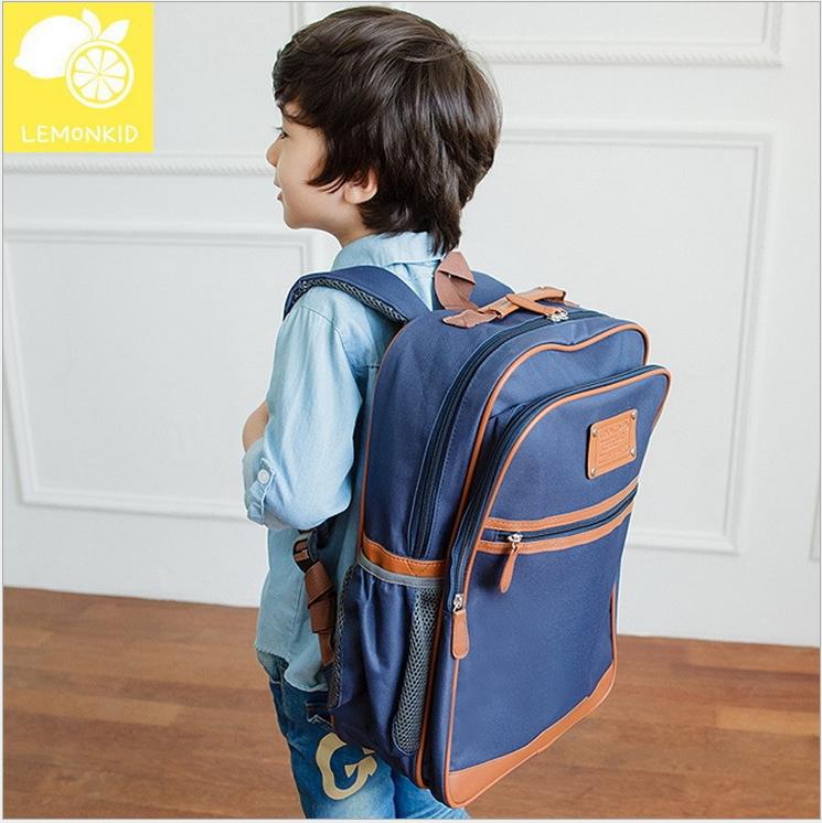 Lemonkid◆新款升級版學院風側網袋好質感耐用牛津布兒童書包雙肩包後背包-藏青