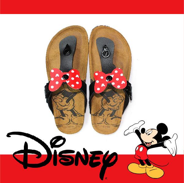 萬特戶外運動休閒 - 正版迪士尼勃肯夾腳拖鞋 米妮蝴蝶結夾腳拖鞋 米奇米妮 親子款 (黑色)