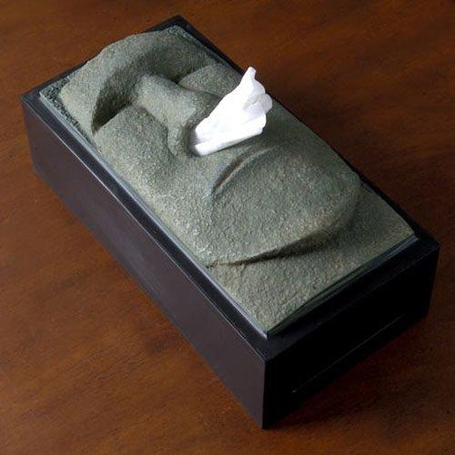 ::bonJOIE:: 美國進口 Tiki moai 摩艾巨石像 抽取式衛生紙盒 (全新盒裝) 復活節島 流鼻涕 紙巾 復活島石像 面紙盒
