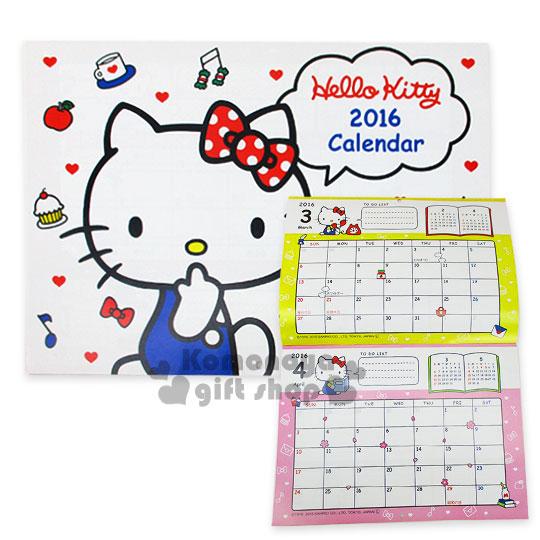 〔小禮堂〕Hello Kitty 2016 壁掛月曆《白.坐姿.指下巴.音符》可記事