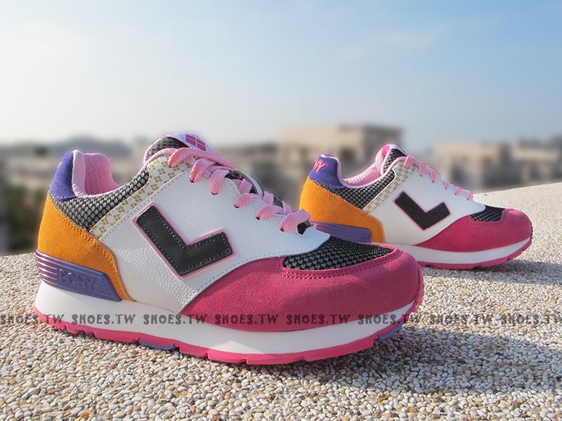 《超值7折》Shoestw【54W1SO67PP】PONY SOLA-T 復古慢跑鞋 內增高 短V 日本風 白桃黃 方格