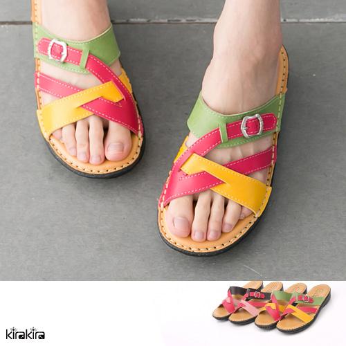 拖鞋-繽紛彩虹錯色楔型拖鞋【011600329】SALE