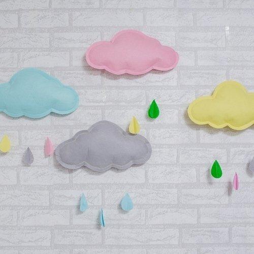 =優生活=韓國手工雲朵雨滴不織布藝風鈴串 野餐裝飾 兒童房 嬰兒房 寵物 派對 居家 帳篷裝飾 馬卡龍色多色可挑選