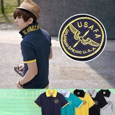 ∥柒零年代∥Spring Look【N7822J】韓系陽光型男 搶眼配色雙領印花電繡徽章馬球POLO衫(GS1143)