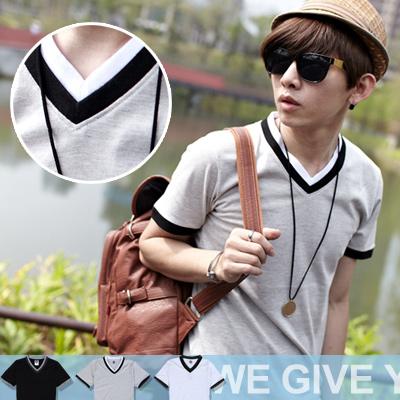 ∥柒零年代∥S/S OutDoor【N7865J】韓版簡單率性優質型男雙色滾邊V領短袖上衣(GS2042)