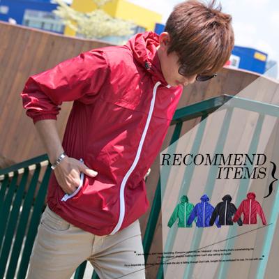 柒零年代MatureMan【N8076J】韓系白色拉鍊高彩度單層尼龍連帽風衣外套(MA81066)