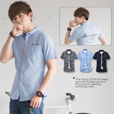 ∥柒零年代∥New Age【N8419J】韓系都會新貴簡約穿搭手寫字母純色短袖襯衫(JK0006)