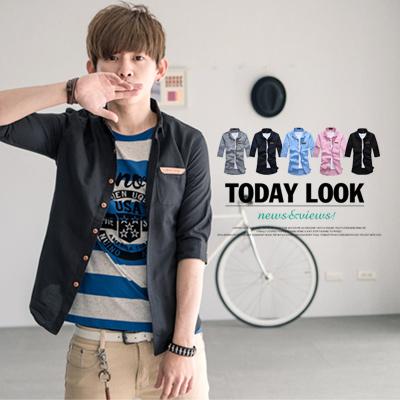 ∥柒零年代∥New Age【N8428J】韓系都會時尚型男純色簡約口袋皮標七分袖襯衫(JK0009)
