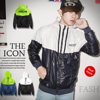 柒零年代【N8766J】潮流運動風OVERLOAD螢光配色連帽風衣外套(OL8012)hipster