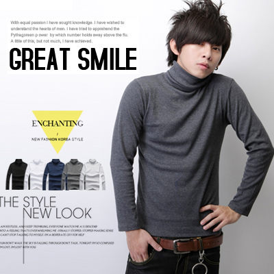 ∥柒零年代∥Comfort【N7245J】日韓優質型男單品全羅紋素面棉料彈性高領上衣(JX0842)