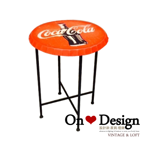 On ♥ Design ❀復古瓶蓋造型紅色邊几 矮桌茶几咖啡桌 創意邊桌擺件 可口可樂鐵桌