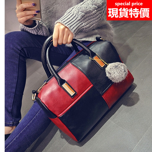 (現貨 附發票)手提包 簡約時尚方格拼接斜背側背包托特包 3色(附肩背帶) A878系列【寶來小舖 Bolai shop】
