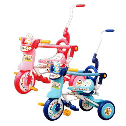 【奇買親子購物網】藍色企鵝 PUKU Petit 豪華型輔助三輪車(藍色/粉色)