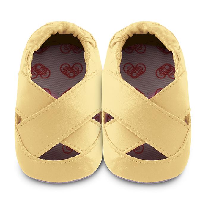 【HELLA 媽咪寶貝】英國 shooshoos 安全無毒真皮手工鞋/學步鞋/嬰兒鞋_檸檬黃芭蕾舞鞋(公司貨)