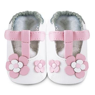 【HELLA 媽咪寶貝】英國 shooshoos 安全無毒真皮手工鞋/學步鞋/嬰兒鞋_糖果粉玫瑰花瓣(公司貨)