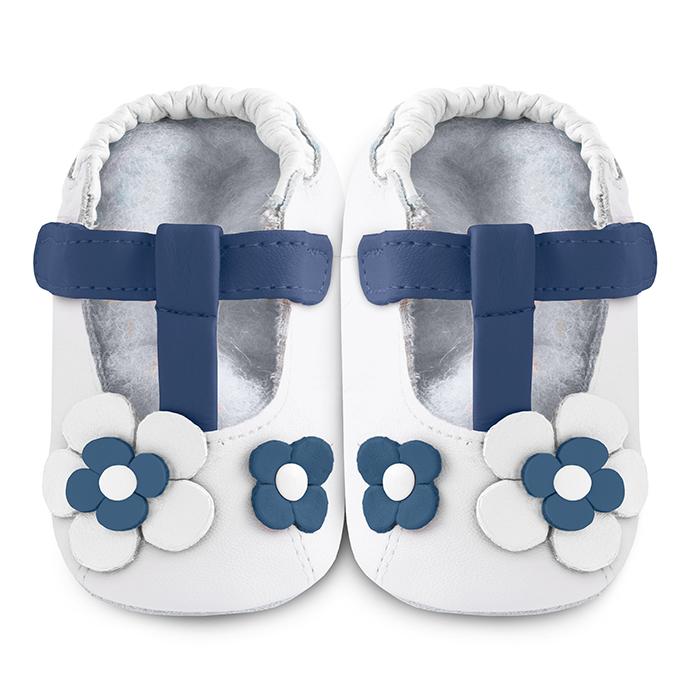 【HELLA 媽咪寶貝】英國 shooshoos 安全無毒真皮手工鞋/學步鞋/嬰兒鞋_海軍藍玫瑰花瓣(公司貨)