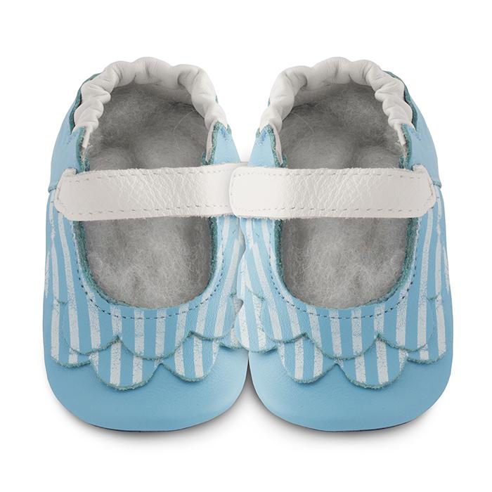 【HELLA 媽咪寶貝】英國 shooshoos 安全無毒真皮手工鞋/學步鞋/嬰兒鞋_湛藍荷葉條紋(公司貨)