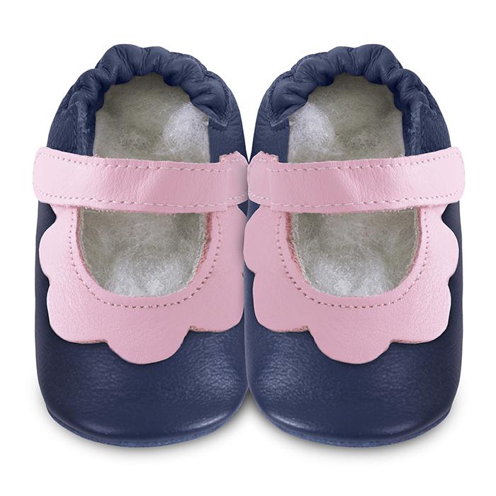 【HELLA 媽咪寶貝】英國 shooshoos 安全無毒真皮手工鞋/學步鞋/嬰兒鞋_海軍藍/粉荷葉(公司貨)