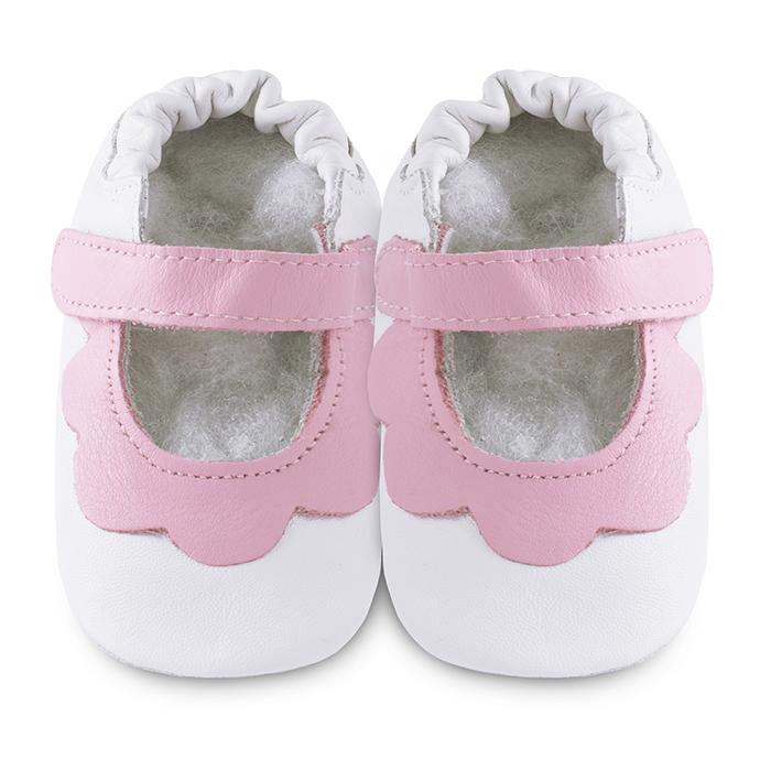 【HELLA 媽咪寶貝】英國 shooshoos 安全無毒真皮手工鞋/學步鞋/嬰兒鞋_白色/粉荷葉_GVWH35S  (公司貨)