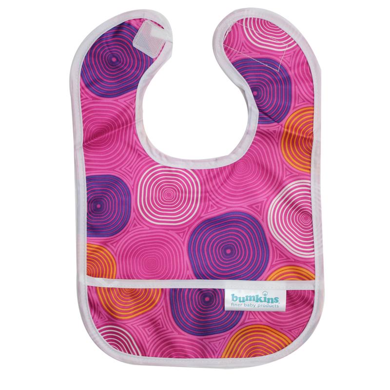 【HELLA 媽咪寶貝】美國Bumkins無袖防水圍兜_粉紅水波