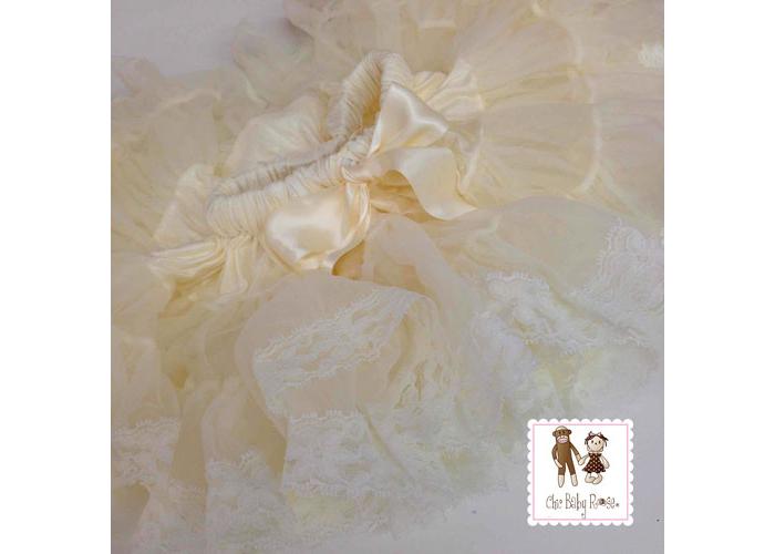 【HELLA 媽咪寶貝】美國 Chic Baby Rose 手工雪紡蕾絲澎澎裙_香檳白